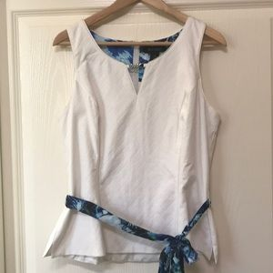 NWT - WHBM sleeveless white Top with sash size 14